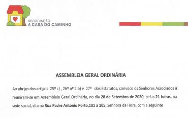 Assembleia Geral Ordinária | 28/9/2020